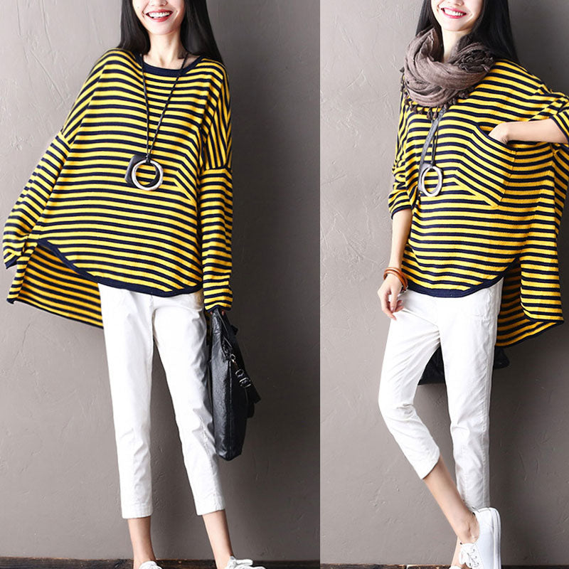 Irregular Round Neck Blue And Yellow Stripe Literature Women Shirt - Buykud