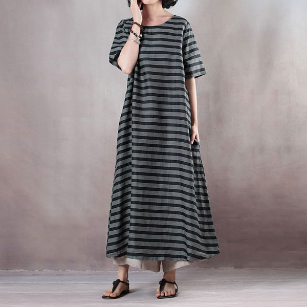 Stripe Casual Pockets Summer Short Sleeve Black Dress