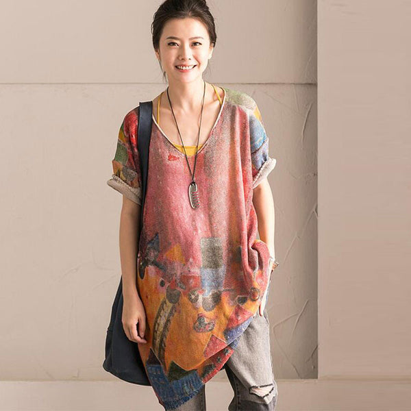 Loose Women Casual Printing Linen Cotton Coffee Gray Shirt