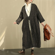 Autumn Winter Women Ramie Stripe Long Sleeve Lacing Coat - Buykud