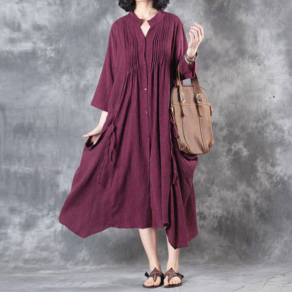 Women Summer Literature Cardigan Loose Red Dress