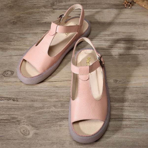 Summer Flat Heel Cow Leather Shoes Portable Pink Sandals