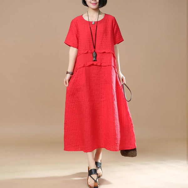 Summer Splicing Lattice Women Red Dress - Buykud