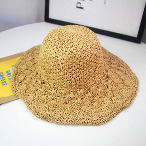 Women Straw Casual Folded Hat - Buykud