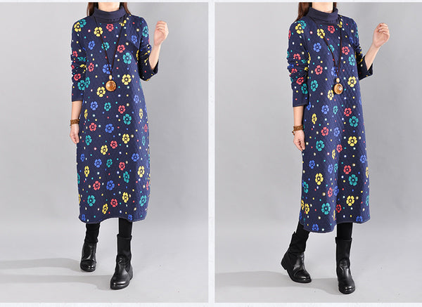 Women Loose Cotton Long Sleeve Spring And Winter Print Dress