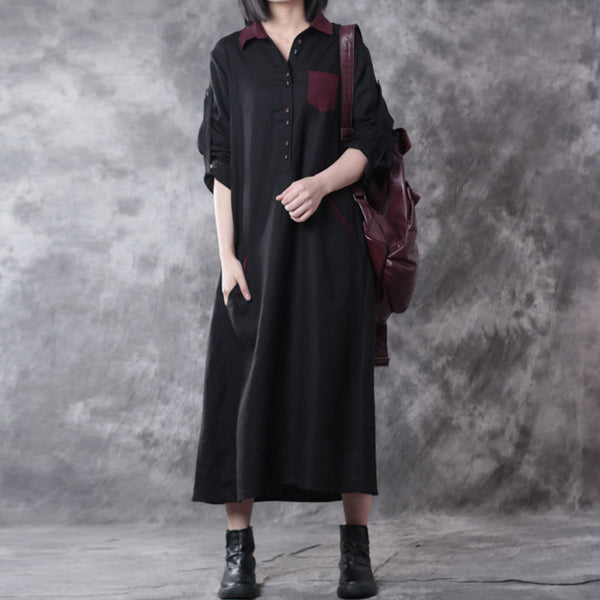 Linen Long Sleeves Lattice Black Dress
