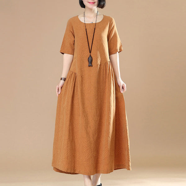Women Casual Loose Cotton Linen Orange Dress