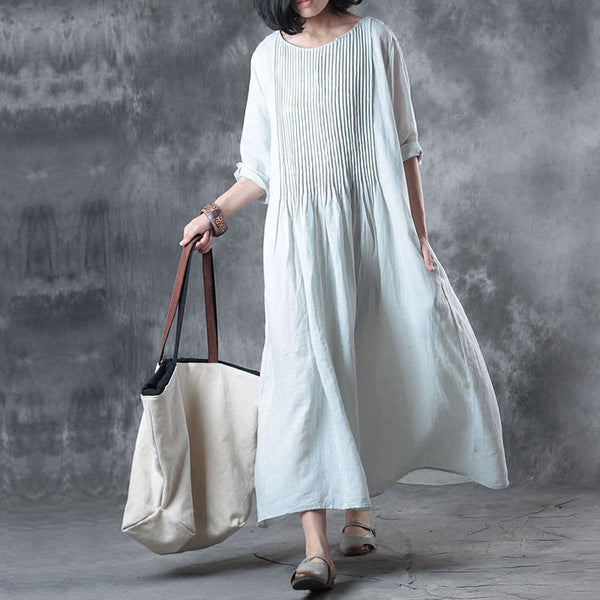 Solid Loose Folded Pocket Women Elbow Sleeves Blue Dress