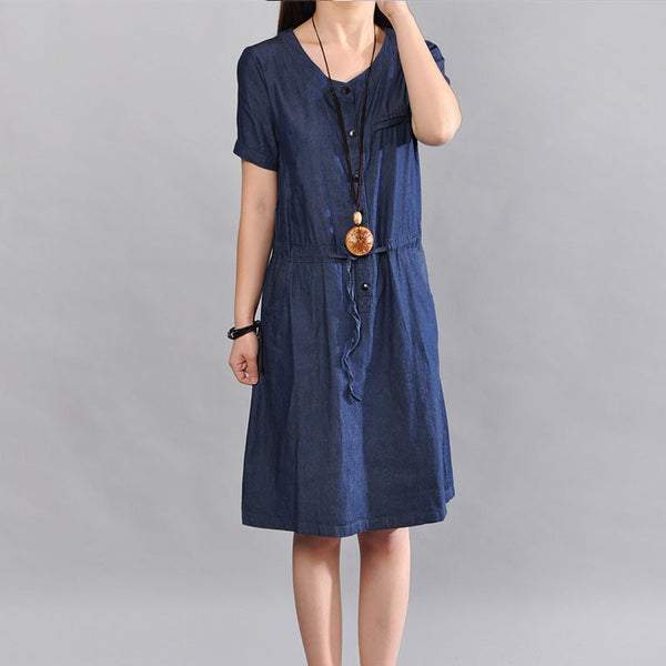 Cotton Women Loose Pocket Casual Round Neck Dress