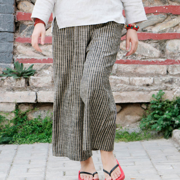 Loose linen Ankle Length Gray Coffee Stripe Women Pants - Buykud