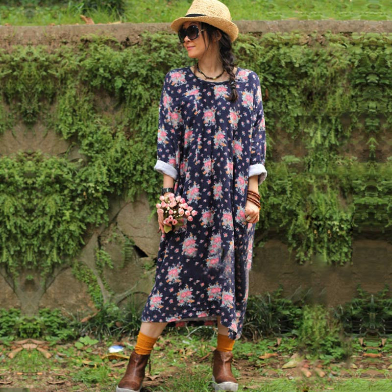 Printed Cotton Linen Loose Dress