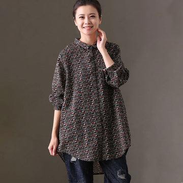 Women Loose Floral Printed Cotton Casual Shirt