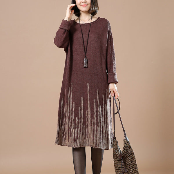 Casual Loose Autumn Long Sleeve Sweater Wine Re