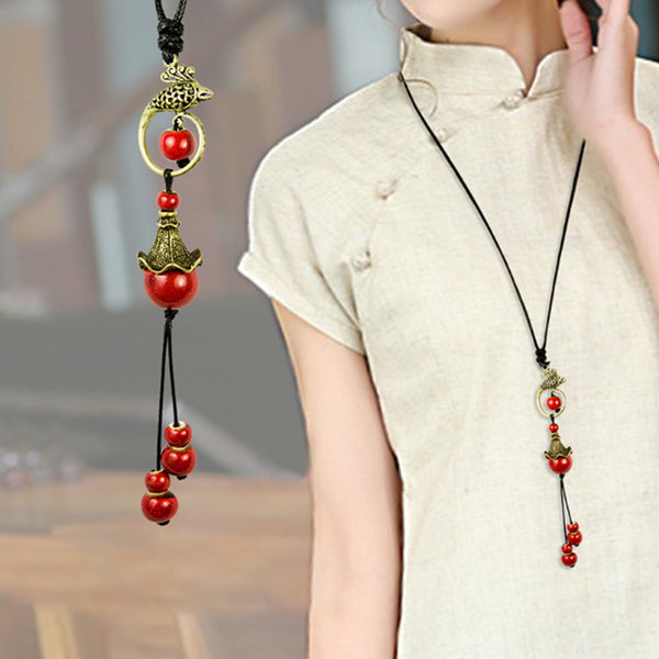 Women Retro Ethnic Porcelain Ball Pendant Necklace
