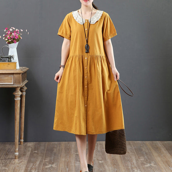 Single Breasted Splicing Short Sleeve Yellow Pleated Dress