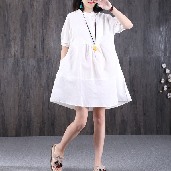 Women Loose Cotton Pocket White Dress - Buykud