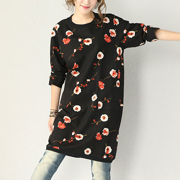 Stretch Cotton Print Loose Thick Dress