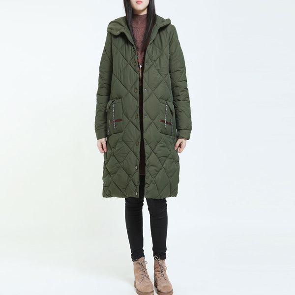 Casual Thickening Hooded Green Overcoat