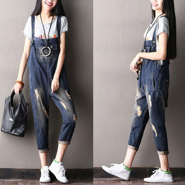 Distressed Women Loose Holed Casual Cotton Overall