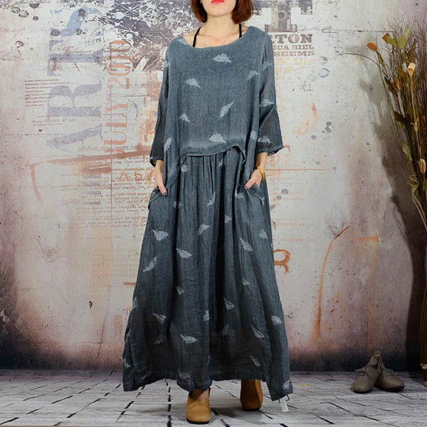 Women's Autumn Casual Dress Embroidered Linen - Buykud