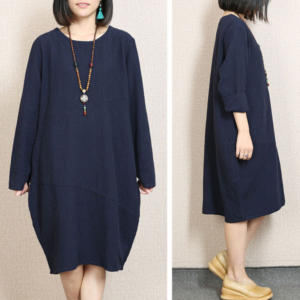 Retro Loose Round Neck Navy Blue Dress