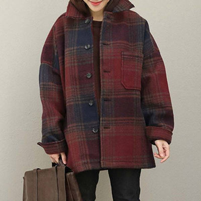 Loose Polo Collar Coffee Lattice Single Breasted Coat