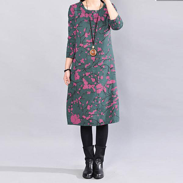 Casual Loose Printing Round Neck Long Sleeves Gray Green Dress - Buykud