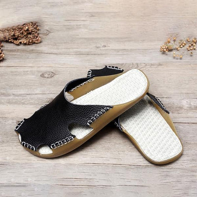 Summer Women Portable Leather White Flat Sandals