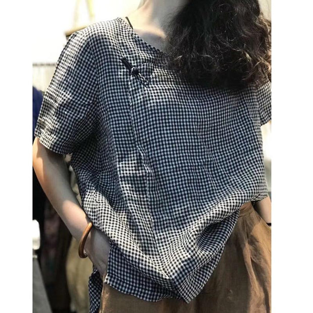 Cotton Linen Loose Vintage Frog Plaid Blouse
