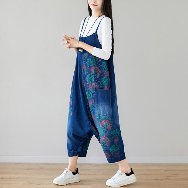 Buykud Retro Loose Printed Asymmetrical Denim Jumpsuit