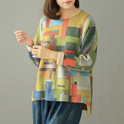 Buykud Colored Blocks Round Neck Casual Sweater