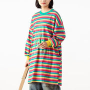 Casual Print Stripe O-neck Loose Top