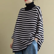 Buykud Autumn New Striped Turtleneck Casual Sweater