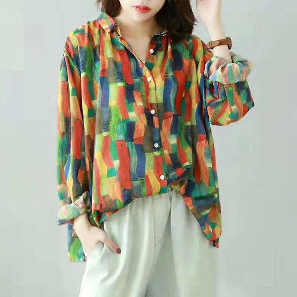 Casual Print Turn-Down Collar Blouse