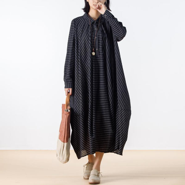 Autumn Linen Loose Stripes Black Shirt Dress