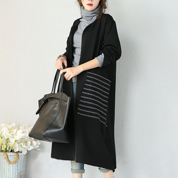 Black Stretch Cotton Casual Coat