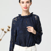 Chiffon Long Sleeve Round Neck Plus Size Shirt