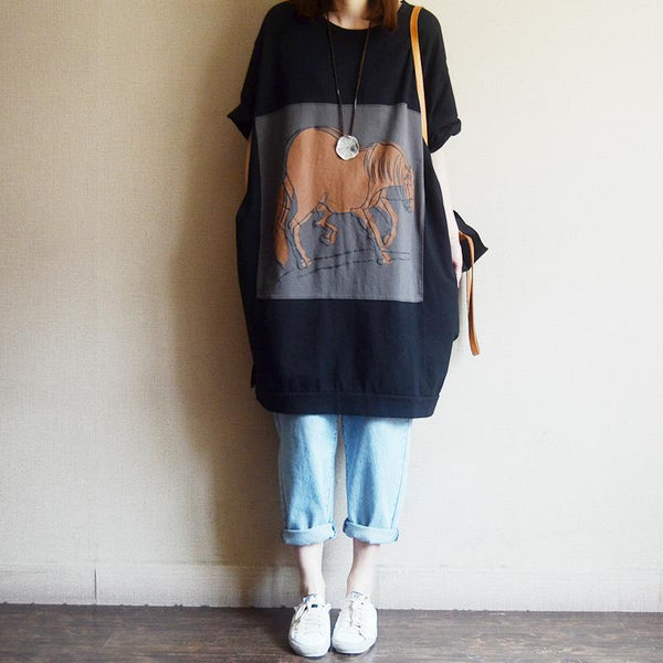 Casual Loose Cartoon Print Cotton Dress