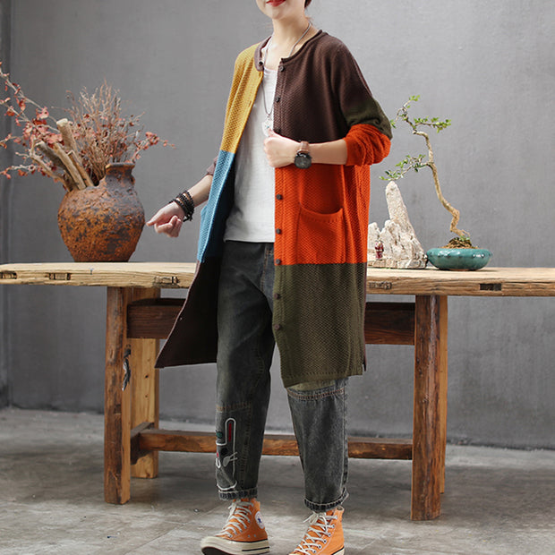 Buykud Retro Loose Colorblock Single-breasted Long Coat