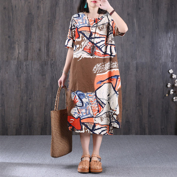 Ethnic Printing Round Neck Women Coffee Dress - Buykud