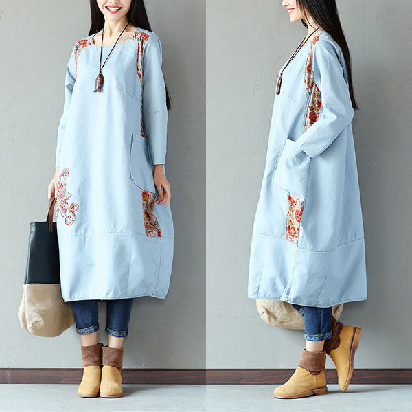 Printing Women Splicing Embroidered Loose Blue Dress