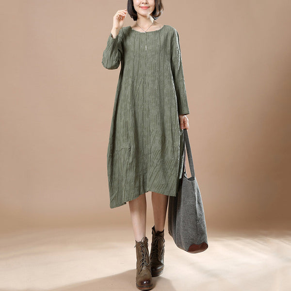 Green Autumn Big Large Long Sleeve Casual Round Neck Dress - Buykud