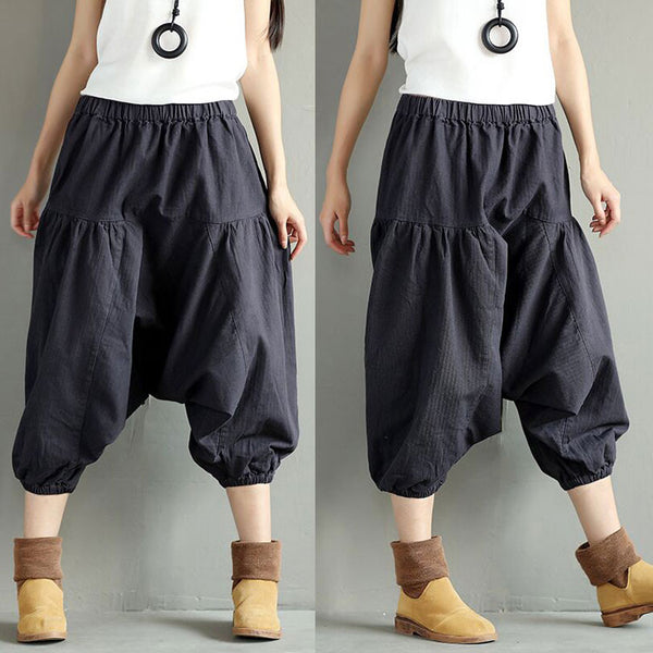 Women Cotton Casual Loose Linen Harem Pants - Buykud