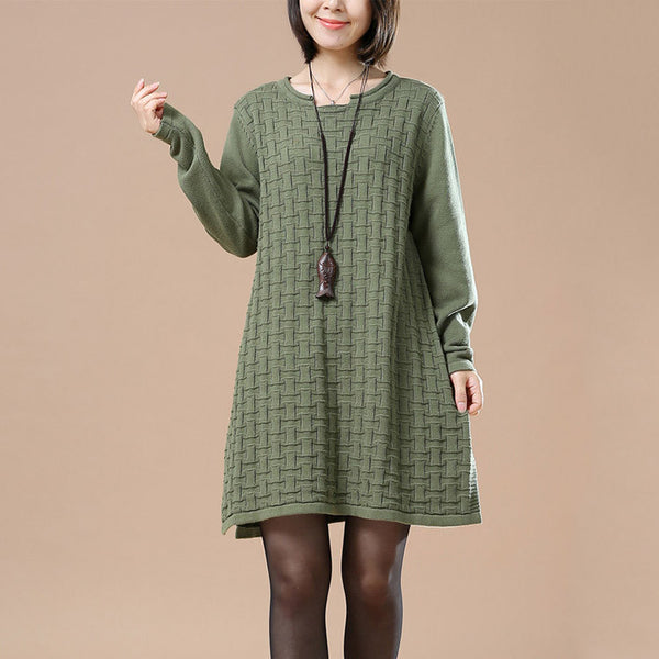 Autumn Green Casual Long Sleeve Round Neck Knit Sweater - Buykud