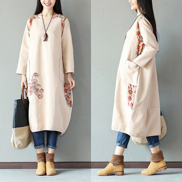 Printing Women Splicing Embroidered Loose Beige Dress - Buykud
