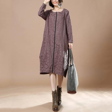 Women Long Sleeve Loose Casual Dress - Buykud