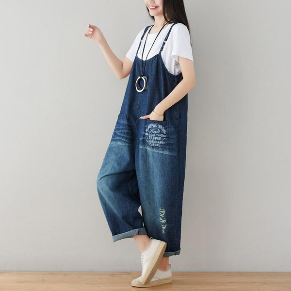 Casual Adjustable Strap Ripped Denim Overalls
