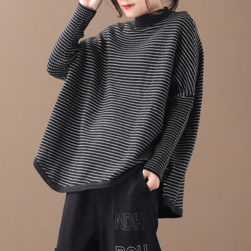 Buykud Loose Literary Half-high Collar Striped Knitted Shirt