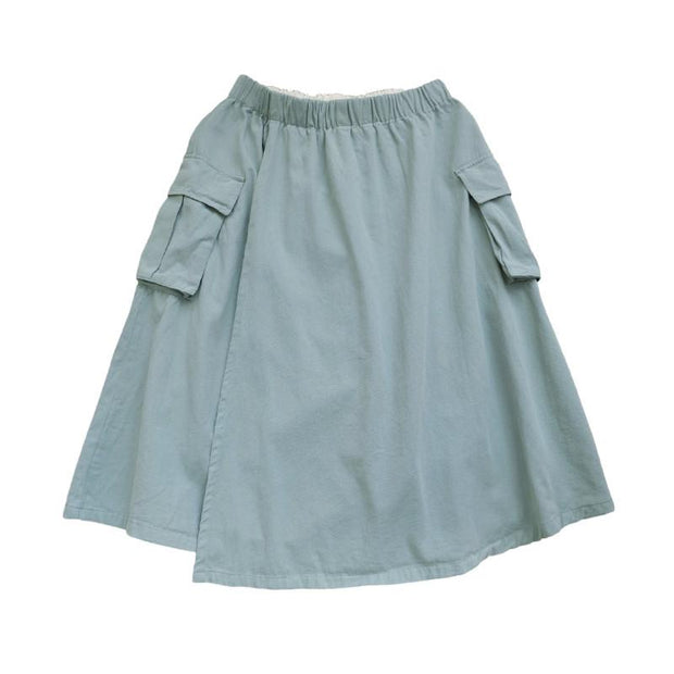 Double Layer Solid Color Pockets A-Line Skirt