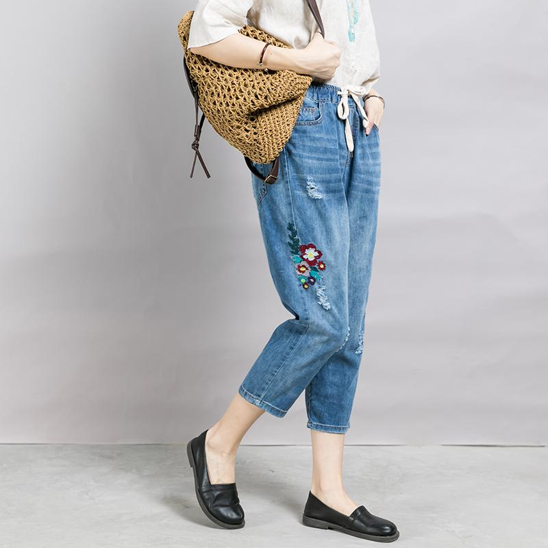 Embroidered Flowers And Frayed Casual Jeans